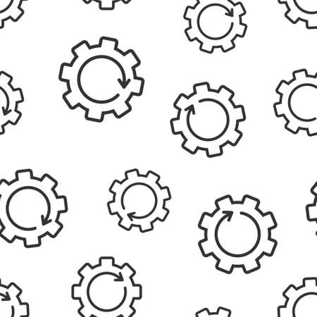 Recovery gear icon in flat style. Repeat vector illustration on white isolated background. Rotation seamless pattern business concept.  イラスト・ベクター素材