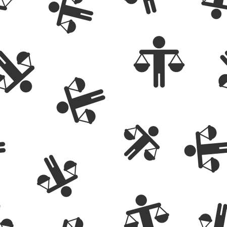 Ethic balance icon in flat style. Honesty vector illustration on isolated background. Decision seamless pattern background business concept.  イラスト・ベクター素材
