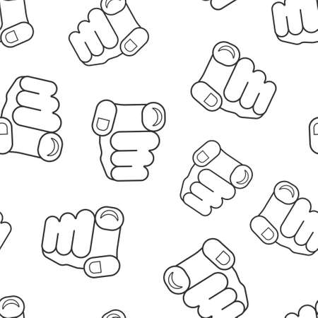 Finger point icon in flat style. Hand gesture vector illustration on white isolated background. You forward seamless pattern business concept. Vettoriali