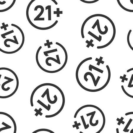 Twenty one plus icon in flat style. 21+ vector illustration on white isolated background. Censored seamless pattern business concept. Illusztráció