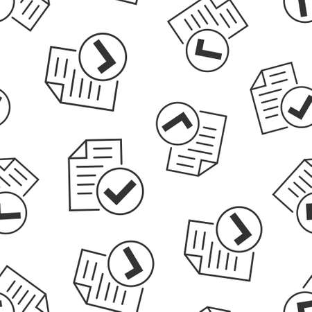 Approved document icon in flat style. Authorize vector illustration on white isolated background. Agreement check mark seamless patter business concept. Çizim