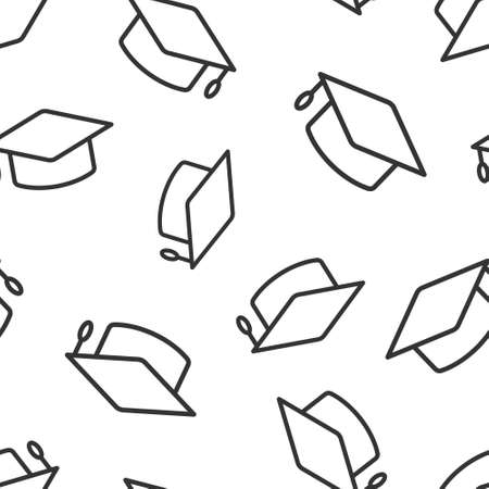 Graduation hat icon in flat style. Student cap vector illustration on white isolated background. University seamless pattern business concept.