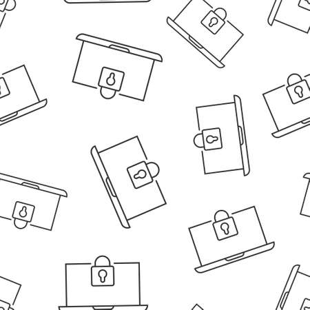 Locker icon in flat style. Padlock password vector illustration on white isolated background. Key unlock seamless pattern business concept.