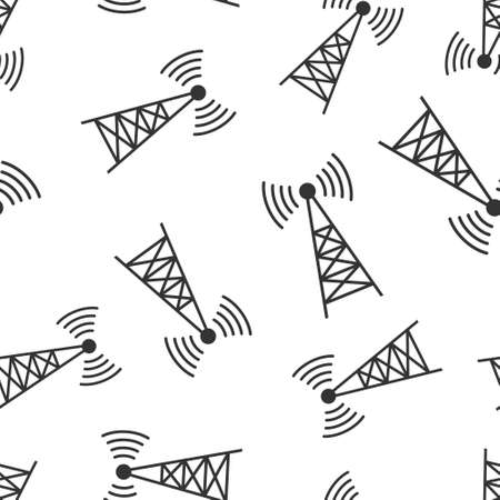 Antenna tower icon in flat style. Broadcasting vector illustration on white isolated background. Wifi seamless pattern business concept. 向量圖像