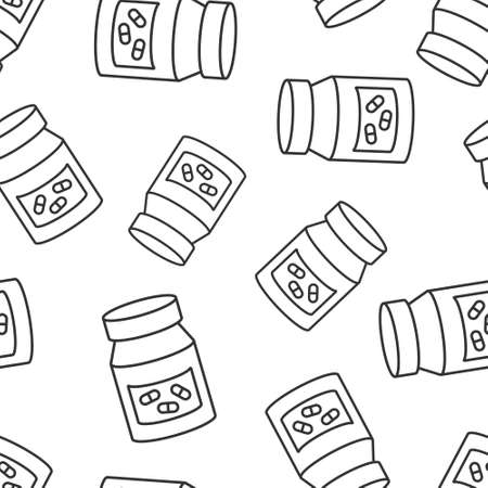 Pill bottle icon in flat style. Drugs vector illustration on white isolated background. Pharmacy seamless pattern business concept.