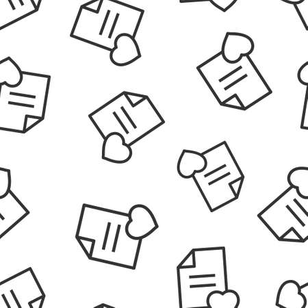 Wishlist icon in flat style. Like document vector illustration on white isolated background. Favorite list seamless pattern business concept.