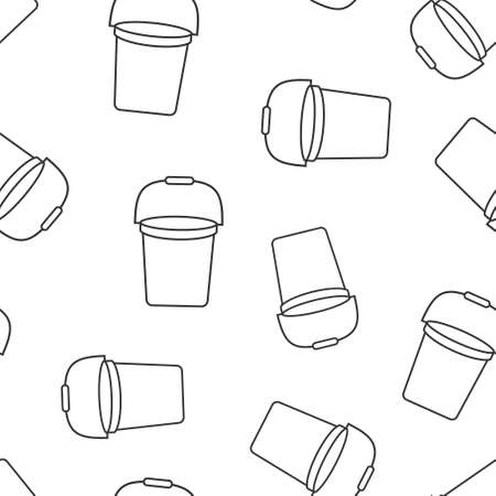 Bucket icon in flat style. Garbage pot vector illustration on white isolated background. Pail seamless pattern business concept.