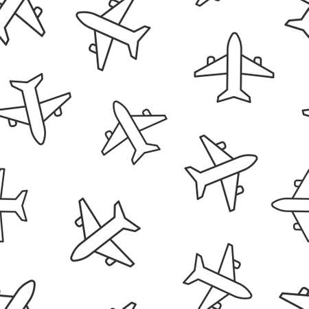 Plane icon in flat style. Airplane vector illustration on white isolated background. Flight airliner seamless pattern business concept.