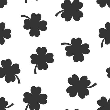 Four leaf clover icon in flat style. St Patricks Day vector illustration on white isolated background. Flower shape seamless pattern business concept. 向量圖像