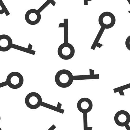 Key icon in flat style. Password vector illustration on white isolated background. Access seamless pattern business concept. 向量圖像
