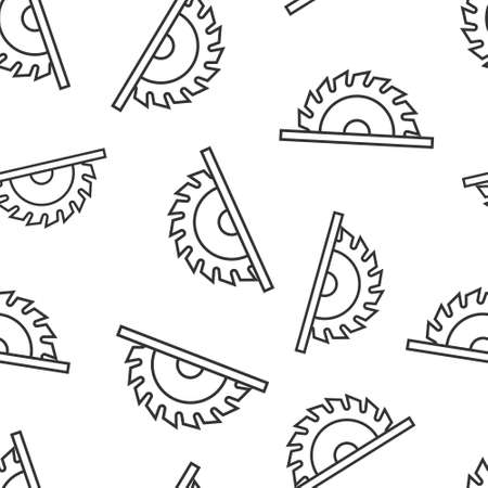 Saw blade icon in flat style. Circular machine vector illustration on white isolated background. Rotary disc seamless pattern business concept.