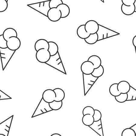 Ice cream icon in flat style. Sundae vector illustration on white isolated background. Sorbet dessert seamless pattern business concept.