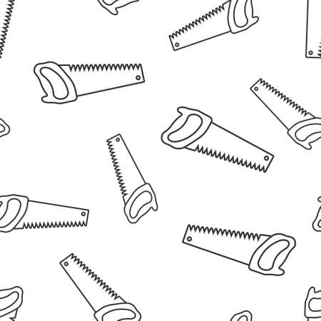 Saw blade icon in flat style. Working tools vector illustration on white isolated background. Hammer seamless pattern business concept. 向量圖像