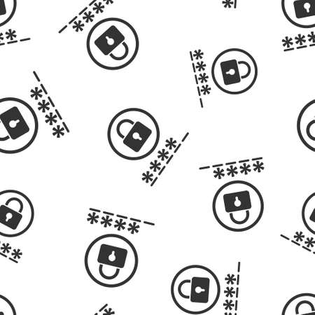 Login icon in flat style. Password access vector illustration on white isolated background. Padlock entry seamless pattern business concept. 向量圖像