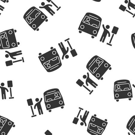 Bus station icon in flat style. Auto stop vector illustration on white isolated background. Autobus vehicle seamless pattern business concept. Illustration