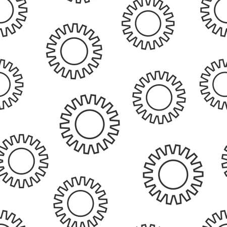 Gear vector icon in flat style. Cog wheel illustration on white isolated background. Gearwheel cogwheel seamless pattern business concept. 矢量图像