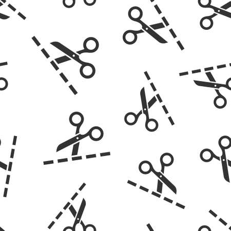 Scissor with cutting line icon in flat style. Cut equipment vector illustration on white isolated background. Cutter seamless pattern business concept.