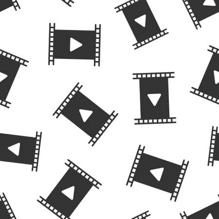 Film icon in flat style. Movie vector illustration on white isolated background. Play video seamless pattern business concept.