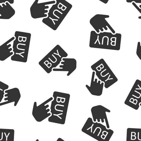 Buy shop icon in flat style. Finger cursor vector illustration on isolated background. Click button seamless pattern business concept.