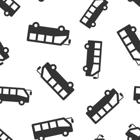 Bus icon in flat style. Coach vector illustration on white isolated background. Autobus vehicle seamless pattern business concept.