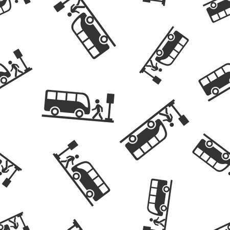 Bus station icon in flat style. Auto stop vector illustration on white isolated background. Autobus vehicle seamless pattern business concept. 向量圖像