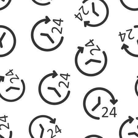 Clock icon in flat style. Watch vector illustration on white isolated background. Timer seamless pattern business concept.