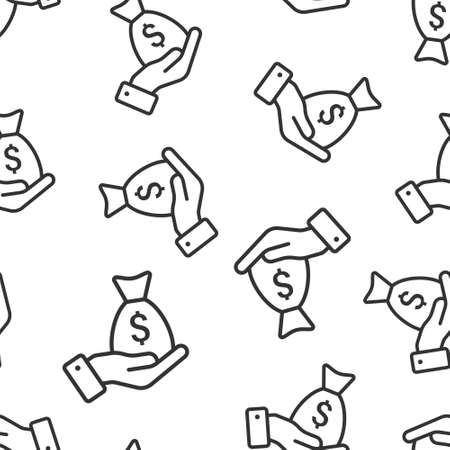 Remuneration icon in flat style. Money in hand vector illustration on white isolated background. Banknote payroll seamless pattern business concept. Vecteurs