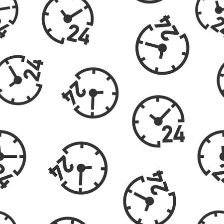 Clock 24/7 icon in flat style. Watch vector illustration on white isolated background. Timer seamless pattern business concept.