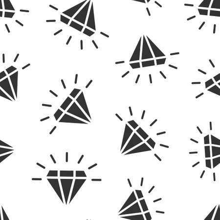 Diamond gem icon in flat style. Gemstone vector illustration on white isolated background. Jewelry brilliant seamless pattern business concept.