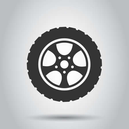 Car wheel icon in flat style. Vehicle part vector illustration on white isolated background. Tyre business concept.