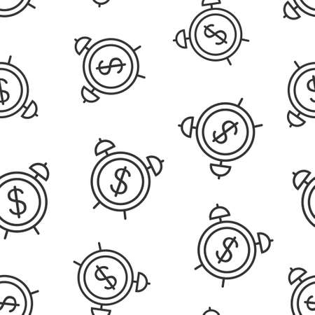 Time is money icon in flat style. Clock with dollar vector illustration on white isolated background. Currency seamless pattern business concept.