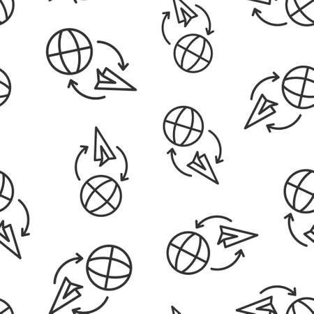 Global travel icon in flat style. Paper plane vector illustration on white isolated background. International transport seamless pattern business concept.