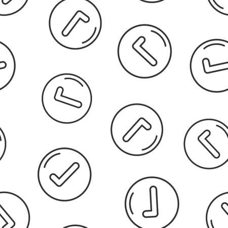 Check mark sign icon in flat style. Confirm button vector illustration on white isolated background. Accepted seamless pattern business concept.