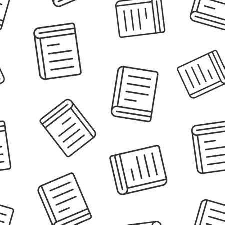 Document book icon in flat style. Paper sheet vector illustration on white background. Notepad document seamless pattern business concept.