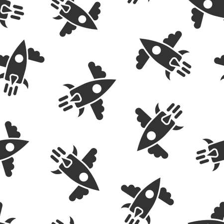 Rocket icon in flat style. Spaceship launch vector illustration on white isolated background. Sputnik seamless pattern business concept.