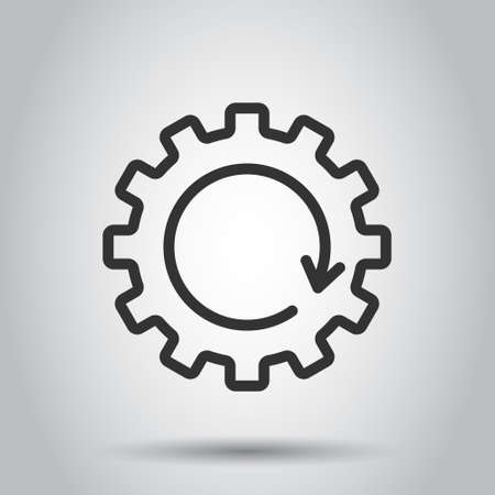 Recovery gear icon in flat style. Repeat vector illustration on white isolated background. Rotation business concept.