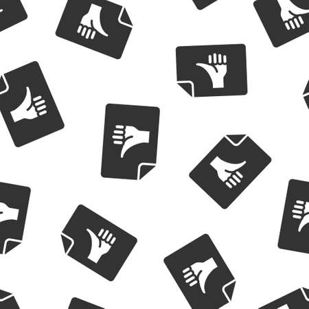 People hand with check mark icon in flat style. Accept vector illustration on white isolated background. Approval choice seamless pattern business concept.