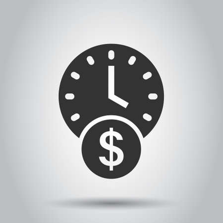 Time is money icon in flat style. Project management vector illustration on white isolated background. Deadline business concept.