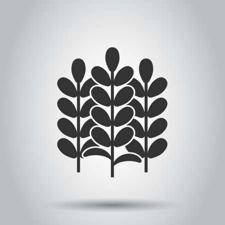 Wheat icon in flat style. Barley vector illustration on white isolated background. Harvest stem business concept.