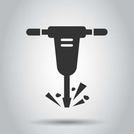 Jackhammer icon in flat style. Demolish vector illustration on white isolated background. Destroy business concept.