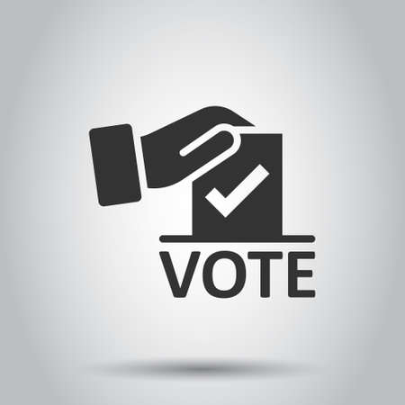 Vote icon in flat style. Ballot box vector illustration on white isolated background. Election business concept. Ilustrace