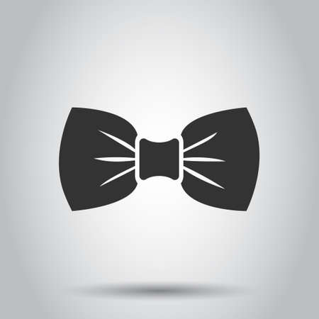 Tie bow icon in flat style. Bowtie vector illustration on white isolated background. Butterfly business concept.