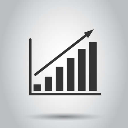 Chart graph icon in flat style. Arrow grow vector illustration on white isolated background. Analysis business concept.