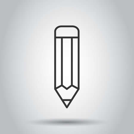 Pencil icon in flat style. Pen vector illustration on white isolated background. Drawing business concept.