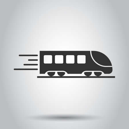 Metro icon in flat style. Train subway vector illustration on white isolated background. Railroad cargo business concept.