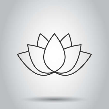 Lotus icon in flat style. Flower leaf vector illustration on white isolated background. Blossom plant business concept.