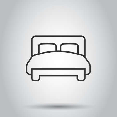 Bed icon in flat style. Bedroom sign vector illustration on white isolated background. Bedstead business concept.