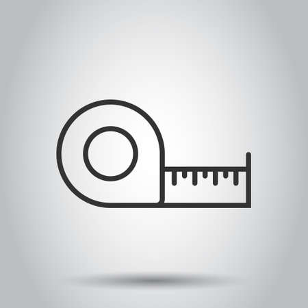 Measure tape icon in flat style. Ruler sign vector illustration on white isolated background. Meter business concept. Ilustracja