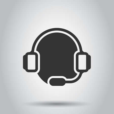 Helpdesk icon in flat style. Headphone vector illustration on white isolated background. Chat operator business concept.