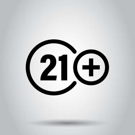Twenty one plus icon in flat style. 21+ vector illustration on white isolated background. Censored business concept.